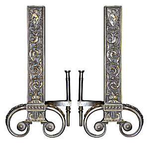 Silvered Andirons Spanish Fireplace Andirons