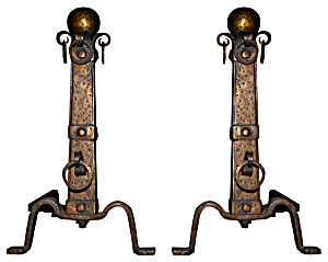Art And Crafts Pair Of Fireplace Andirons