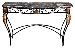 1950s Marble Top Iron Console