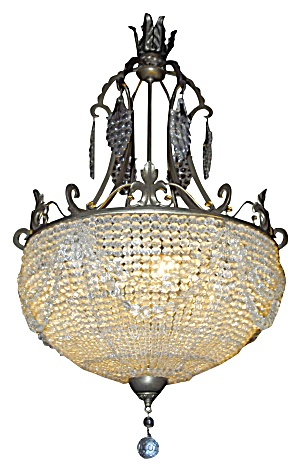 Antique Beaded Crystal Bowl Chandelier