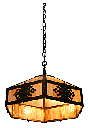 ANTIQUES SLAG GLASS HANGING LIGHT...HEAVY (Image1)