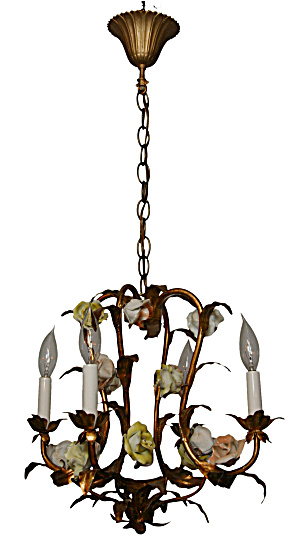 VINTAGE FRENCH COUNTRY ANTIQUE CHANDELIER (Image1)