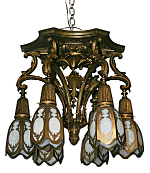 ANTIQUE CAST BRONZE CEILING FIXTURE (Image1)