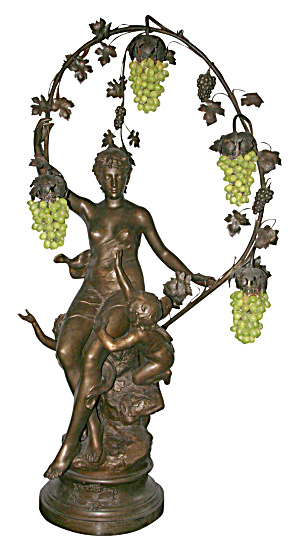 ALMOST LIFE SIZE STATUE/NEWELL POST LAMP (Image1)