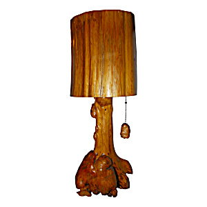OLD HAND CARVED LAMP (Image1)