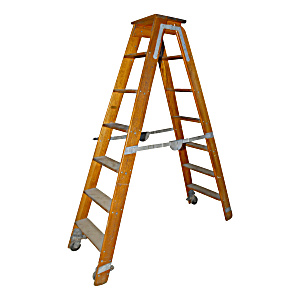 Vintage Oak Library Ladder