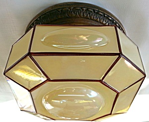 Vintage Art Glass Flush Light
