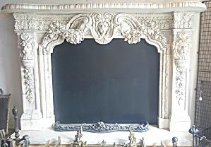 CARVED WHITE MARBLE FIREPLACE MANTEL (Image1)