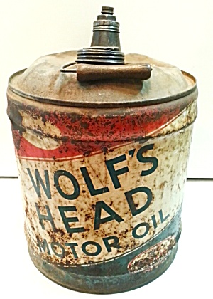 OLD MOTOR OIL TIN....WOLF'S HEAD (Image1)