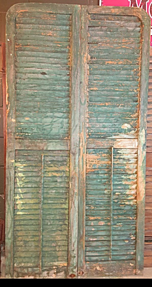 4 Sets Of Red Wooden Shutters In Frames