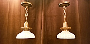 Pair of early pendant brass lights (Image1)