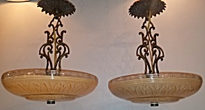 Pair Of Classic Pendant Lights In Brass/glass