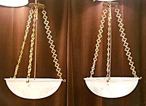 antique pair  BOWL fixtures   #3546 (Image1)