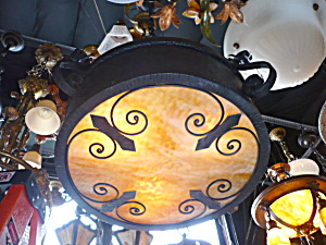 Arts and Crafts drum pendant fixture (Image1)