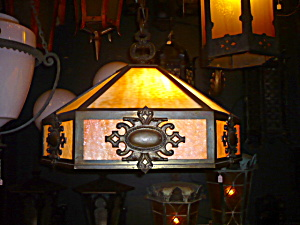 ANTIQUE arts and Crafts hanging light (Image1)
