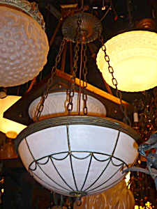 ANTIQUE ARTS AND CRAFTS BOWL LIGHT FIXTURE (Image1)