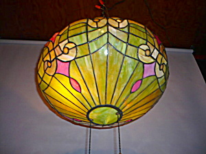 ARTS AND CRAFTS STAINED GLASS BOWL LIGHT FIXT (Image1)