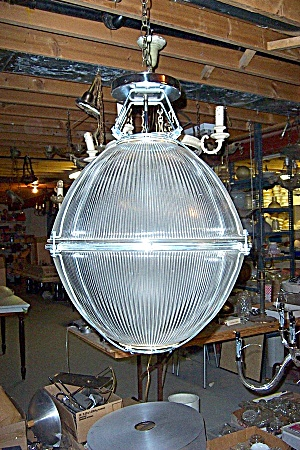 LARGE HOLOPHANE INDUSTRIALGLASS LIGHT FIXTURE (Image1)