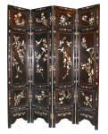 """72in H X 64in W X 1in D 183.0cm H X 163.0cm W X 2.5cm D Folding screen in ebony black laquer with inlaid mother of pearl details. Four panels of 15 3/4""""w x 71 3/4""""h x 1""""thick totalling 64""""w flat"""