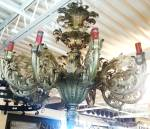 Huge brass ornate pendant light fixture