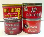 Click here to enlarge image and see more about item 215062716: OLD COFFEE TINS