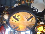 Arts and Crafts drum pendant fixture
