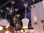 """hall light..brushed nickle/brass...etchrd glass...29""""long"""
