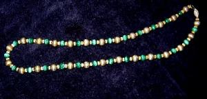 Sterling Necklace With Malachite Beads