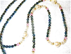 Necklace of Pearl and Aurora Borealis Beads (Image1)