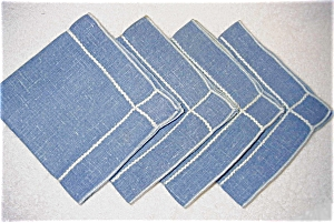 Blue Linen Luncheon Napkins
