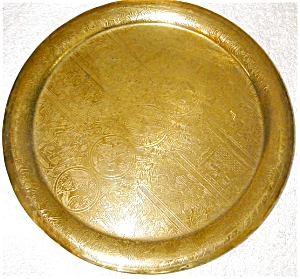 Brass Tray With Etched Figures And Brass Figurine