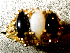 Opal And Onyx Ring