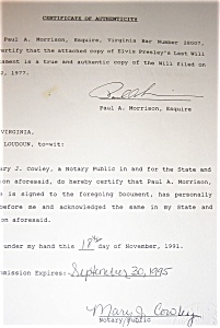 Elvis Presley  Certified Last Will and Testament (Image1)
