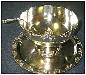 Vintage Silverplate Punch Bowl, Tray, Ladle, and Cups (Image1)