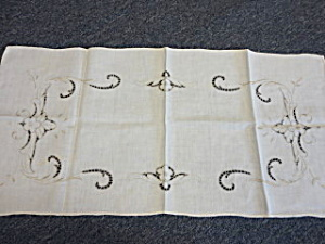 Linen Cutwork Table Runner