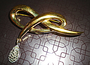 Bow Pin with Sterling Marquesite Drop (Image1)