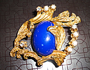 Lapis and Goldtone Pin (Image1)