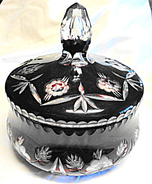 Cut To Clear Red Crystal Lidded Bowl