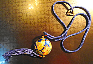 Cloisonne Pendant on Satin Rope  (Image1)