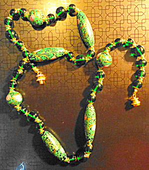 Green Cloisonne and Stone Necklace (Image1)