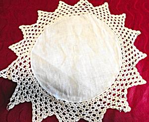 Crochet Edge Linen Doily (Image1)
