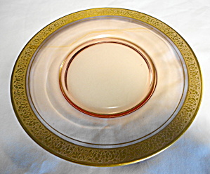 Cranberry Glass Plates with Gold Rim (Image1)