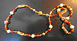 Stone Necklace with Gold and White accents (Image1)