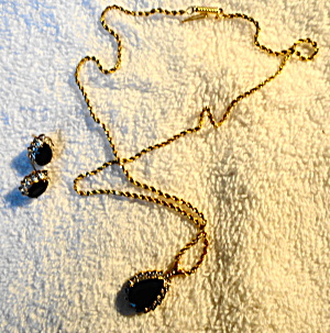 Sapphire And Gold Teardrop Earrings And Necklace