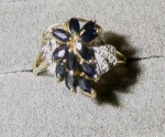 Click here to enlarge image and see more about item 1227: Sapphire Cluster Ring