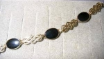 Click here to enlarge image and see more about item 1236: Sterling Bracelet with Onyx Stones