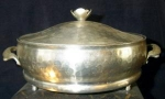 Click here to enlarge image and see more about item 1246: Hammered Aluminum Casserole Holder and Lid