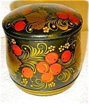 Click here to enlarge image and see more about item 1593: Russian Handpainted Cannister with Spoon