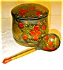 Click to view larger image of Russian Handpainted Cannister with Spoon (Image4)