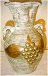 Click here to enlarge image and see more about item 1811: Pottery Vase with Metal Overlay